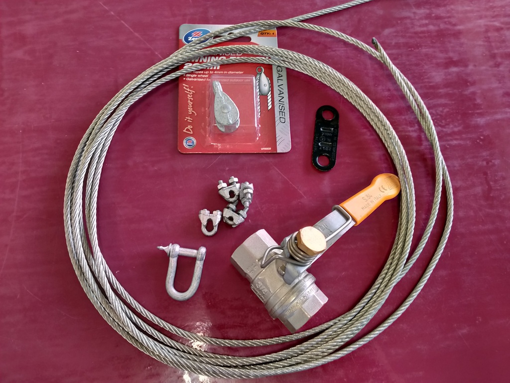 Generator Connection Kit - Spring ball valve, fuse, rope - brass 1/2""